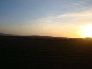 Sunset vista in north Pembrokeshire with the Preseli mountains visible