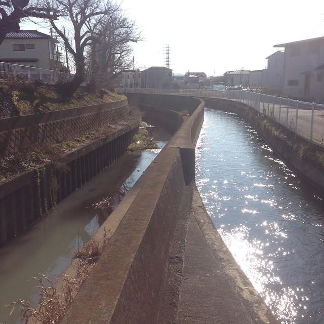 相武台下駅前。ここで相模川左岸用水と流路を同じくします。面白いな、コレ!