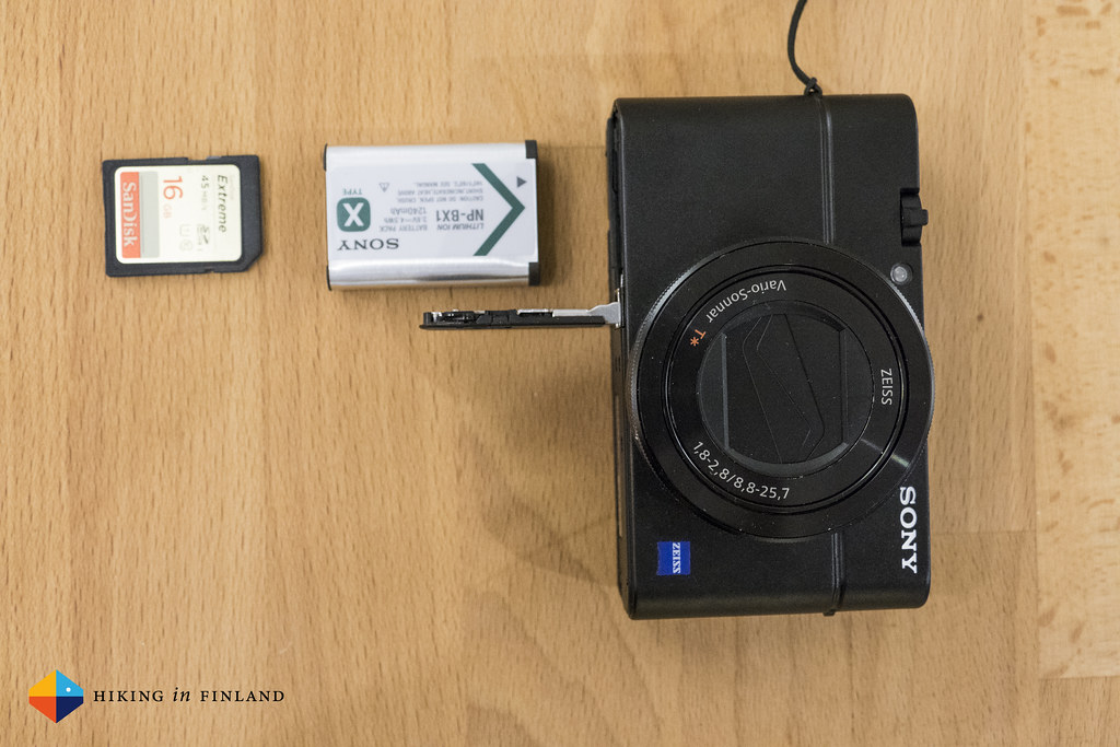 Sony RX100III front with open battery compartment and battery & SDHD Card out