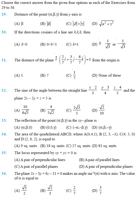 Class 12 Important Questions For Maths Three Dimensional