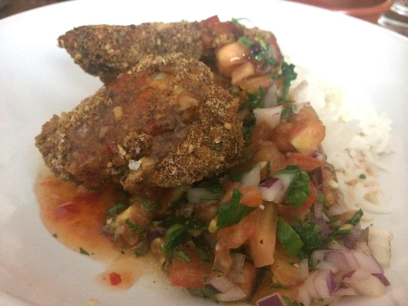 Roast Chicken Crispy Goujons : Served with rice and salsa