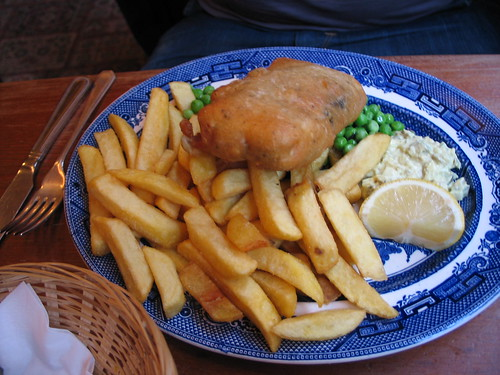 Vegan tofush & chips at Norman's Coach & Horses, Soho, London