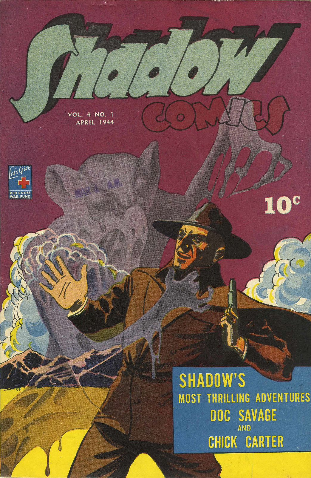 Shadow Comics V4#1 (Street & Smith, 1944) Charles Coll Cover