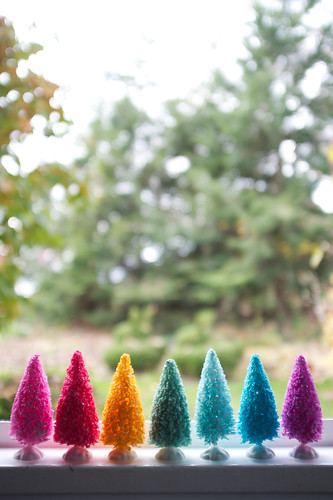 Rainbow bottle brush trees.