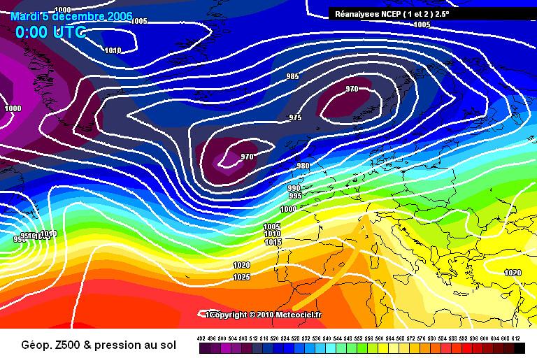 carte de situation de la grande douceur du 5 décembre 2006 météopassion