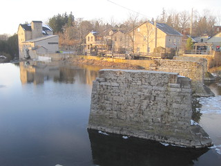 Elora's old walking bridge piers, Mill St. West, and the Elora Mill, Elora Ontario