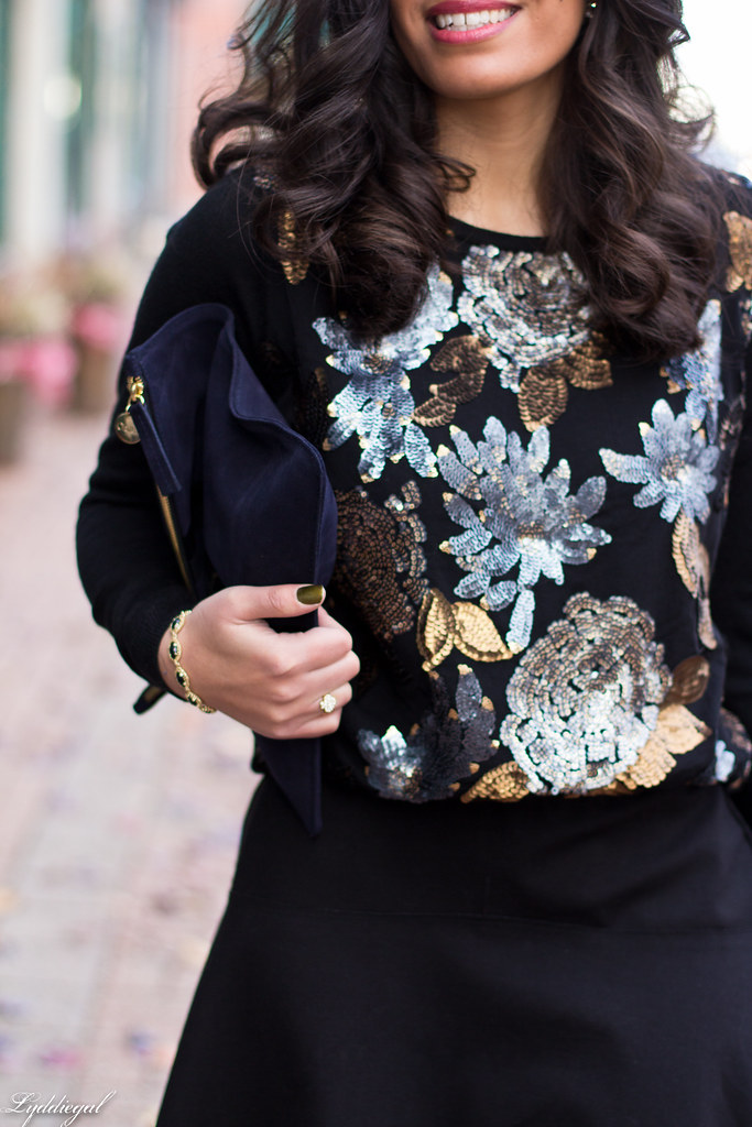 sequined sweater, black flippy skirt, clare v clutch-5.jpg