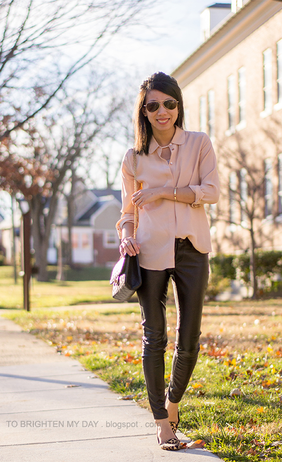 peach silk blouse, faux leather pants, leopard flats