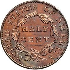 Lot 187 1831 Proof Half Cent reverse