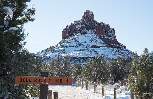 Snow on Bell Rock, Sedona Az
