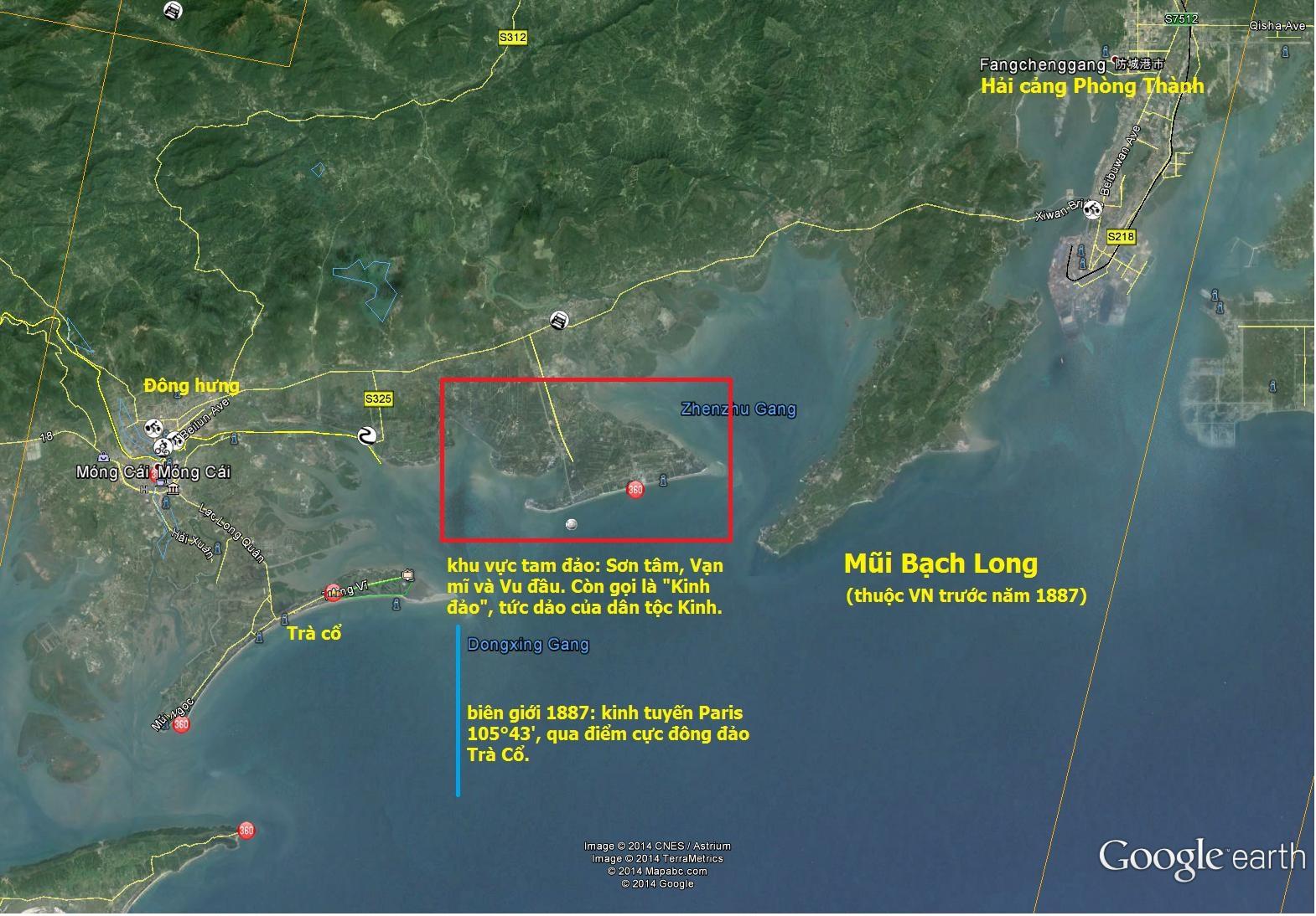 bản đồ google earth vùng bán đảo Bạch Long
