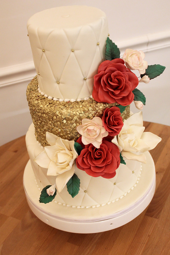 Wedding Cake Yellow With Cream Cascading Roses