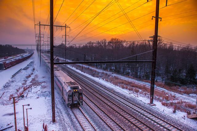 зимний закат в Нью-Джерси