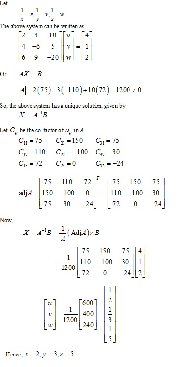 RD Sharma Class 12 Solutions Chapter 8 Solution of Simultaneous Linear Equations Ex 8.1 Q2-xiii