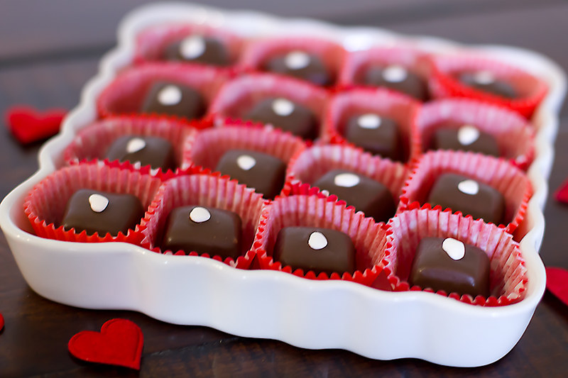 Raspberry Chocolate Covered Chocolate Caramels