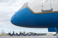 F/A-18 fighter jets used by the Blue Angels, the U.S. Navy's flight demonstration team, are seen on the tarmac at Joint Base Elmendorf-Richardson on July 27, 2016, as the plane carrying U.S. Secretary of State John Kerry stopped for re-fueling while the team was in town to perform at the upcoming Arctic Thunder air show. [State Department Photo/ Public Domain]
