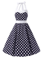Halter 50s Rockabilly - Blue White