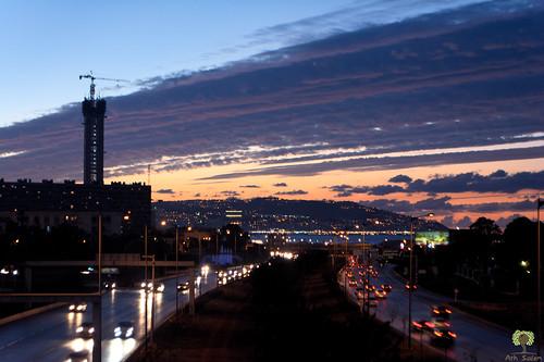 alger algiers algérie algeria afrique du nord baie nuit night lights lumières highway autoroute coucher de soleil sunset fontaine طريق السريع الجزائر العاصمة الليل غروب الشمس mohammadia المحمدية