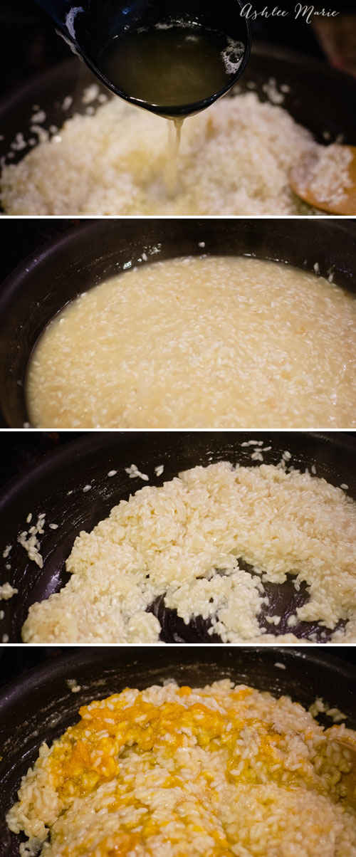 add the stock little by little as you cook the risotto and you'll end up with a creamy risotto that tastes great
