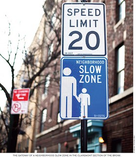 Neighborhood slow zone sign, New York City