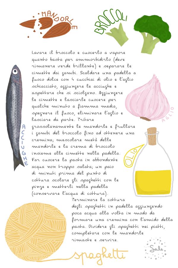 Pasta ai broccoli, acciughe e mandorle