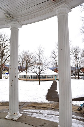 winter snow newyork carousel gazebo binghamton twilightzone rodserling walkingdistance recreationpark ahobblingaday nativeson beethovenstreet viewfromgazebo