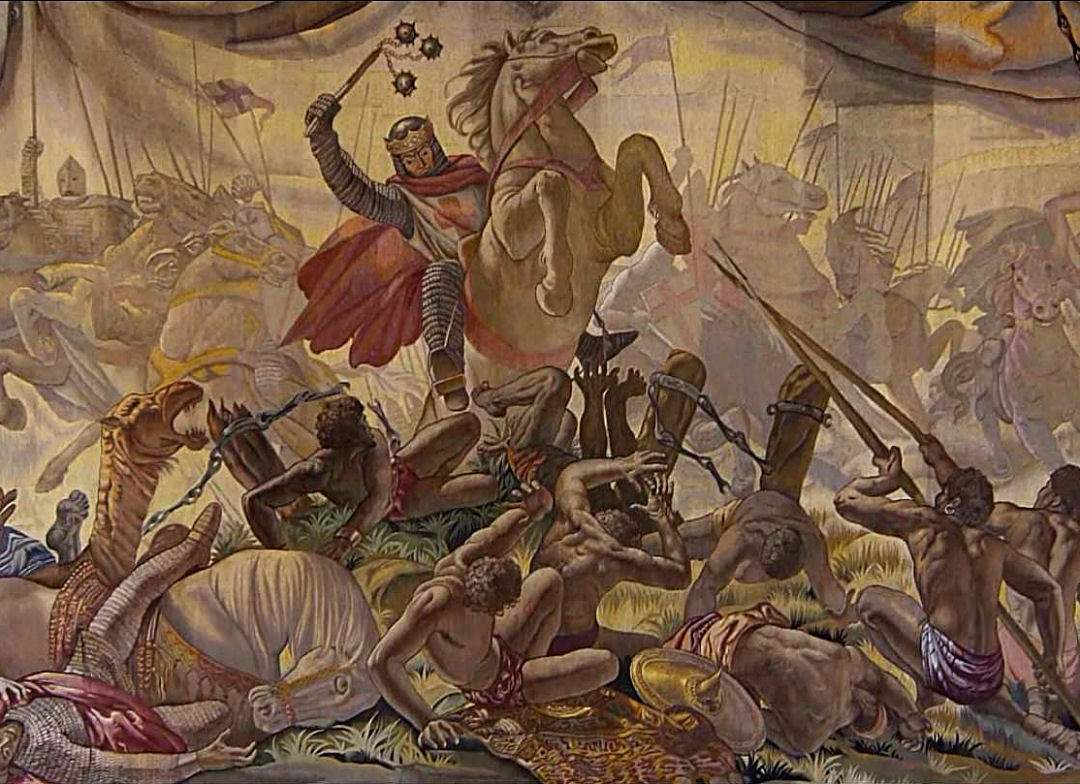 Tapiz que representa el momento álgido de la batalla de las Navas de Tolosa. Autor, desconocido