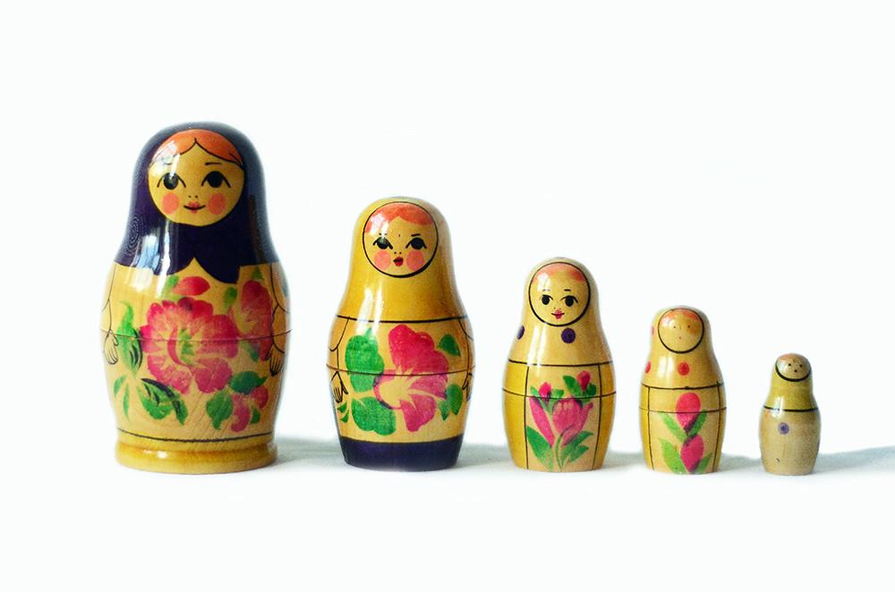 Set of Five Russian Nesting Dolls with Original Receipt