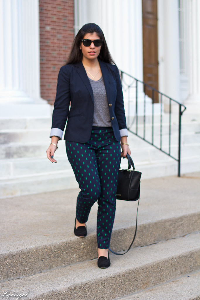 printed pants, navy blazer, grey top-3.jpg