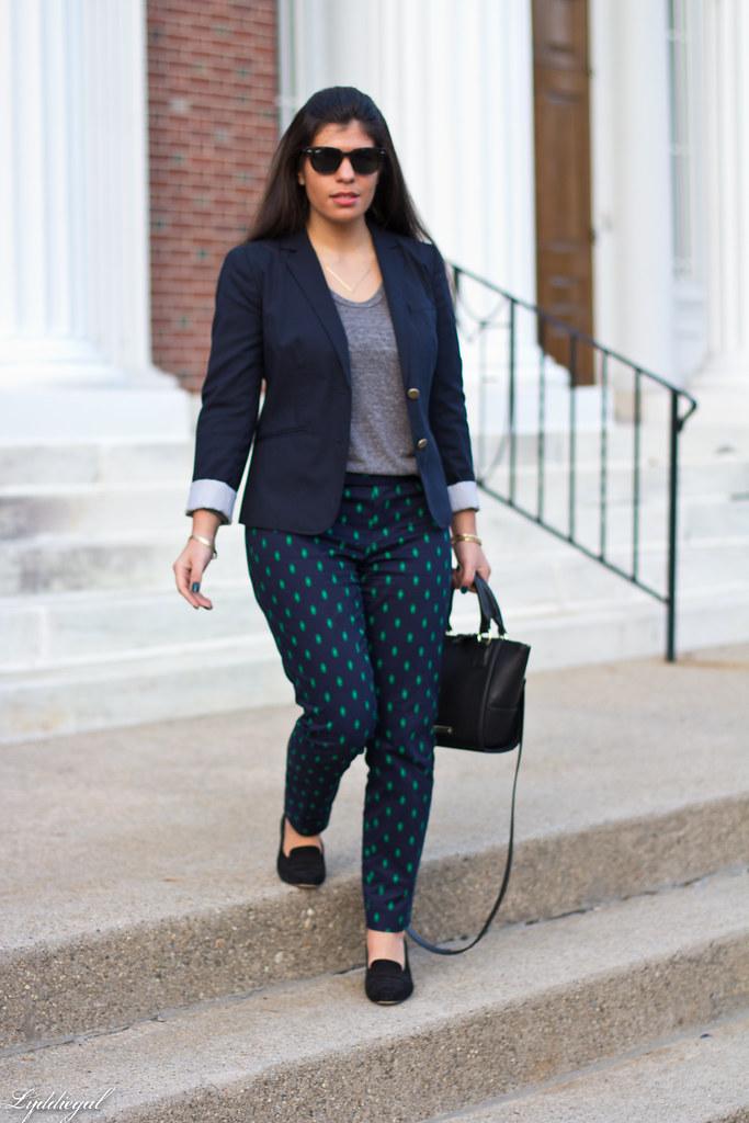printed pants, navy blazer, grey top-3.jpg