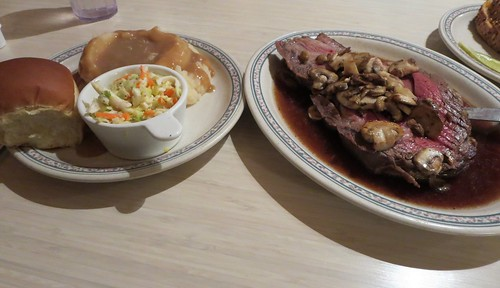 Prime rib, coleslaw, potatoes