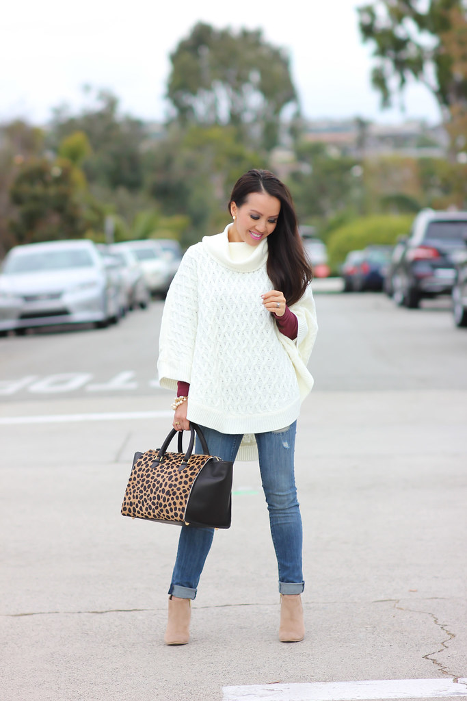 Forever 21 Cable Knit Poncho and Clare V Sandrine Satchel-2