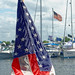 American flag on the sailboat heading out of South Basin in St. Petersburg