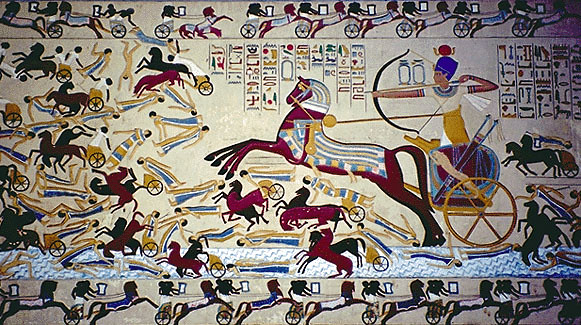 Ahmose I, being depicted as fighting back the Hyksos