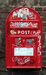 signage, red, number, post box, letter box,