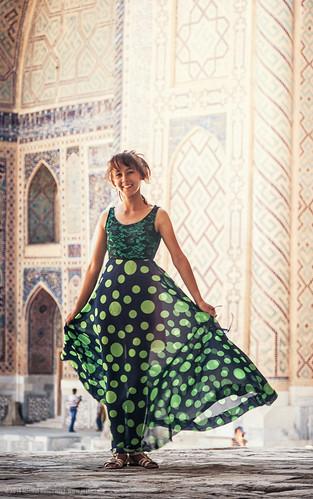 Girl wearing a green dress
