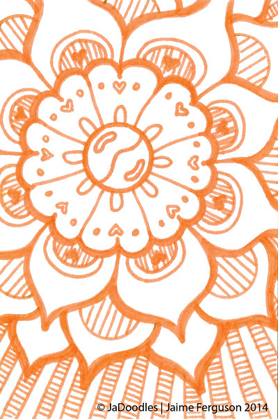 4X6 Orange Flower Doodle