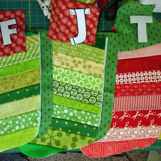 Racing to get the stockings done before Santa arrives!