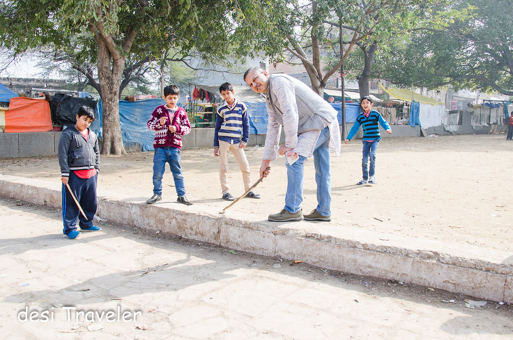 Kids Playing Gilli Danda Delhi Heritage Sport