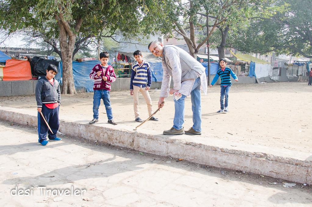 Kids Playing Gilli Danda Delhi Heritage Sport