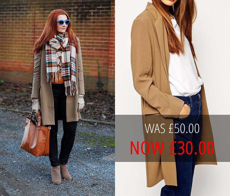 Sale: ASOS Longline Camel Blazer with Skinny Lapel