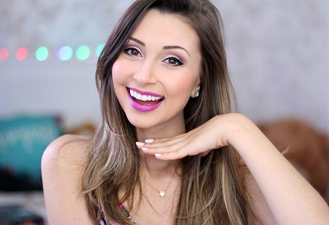 03-maquiagem fácil para festa no fim do dia sempre glamour batom lilás luminoso avon