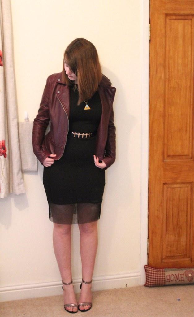 Matalan dress, leather jacket