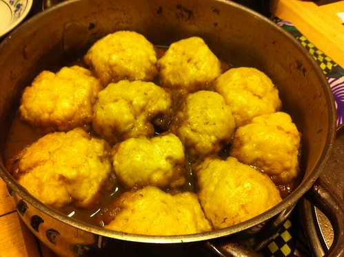 beef and mushroom stew with mustard dumplings