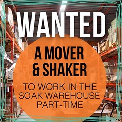 Repost from @soakwash Hello! We're looking for a great Mover & Shaker to work in our Soak office/warehouse in Mississauga, Ontario. This position is part-time, leading to full-time, 3 days a week. Tasks include shipping, receiving, order packing, inventor