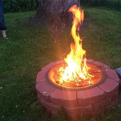 Inaugural fire in my freshly built pit. Next step: flaming toddler.