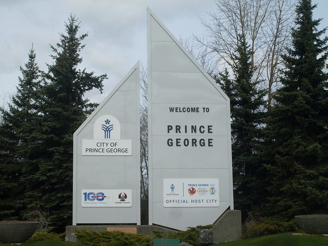 Prince George's welcome sign
