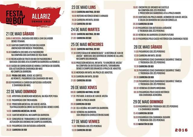 Allariz 2016 - Festa do Boi - programa