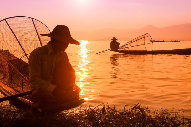 Sunset. Inle lake, Myanmar