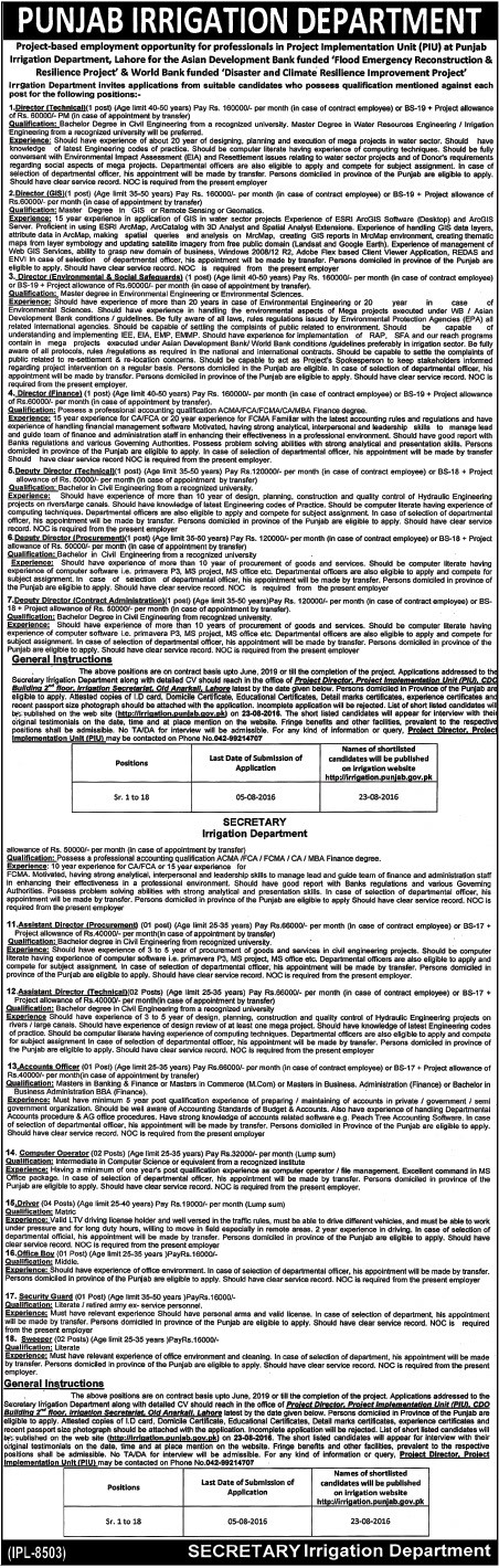 Punjab Irrigation Department Jobs World Bank Finded Project Short Term